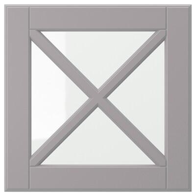"""BODBYN glass door with crossbar gray 14 7/8 """" 15 """" 15 """" 14 7/8 """" 3/4 """""""