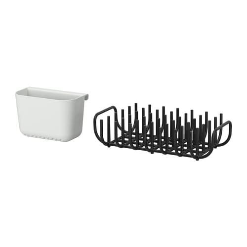 BOHOLMEN Dish drainer and flatware basket   You can attach the cutlery basket to the dish drainer or hang it on GRUNDTAL rail.