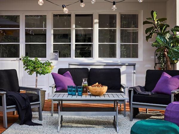 BONDHOLMEN 4-seat conversation set, outdoor, gray stained/Järpön/Duvholmen anthracite