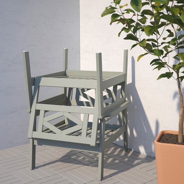 BONDHOLMEN 4-seat conversation set, outdoor, gray stained/Kuddarna gray