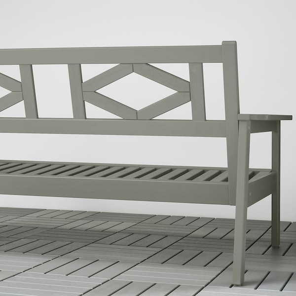 BONDHOLMEN Loveseat, outdoor, gray stained/Frösön/Duvholmen beige