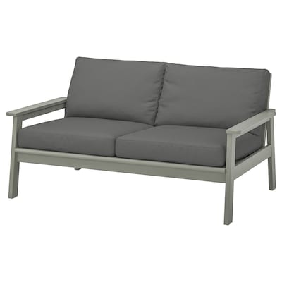 BONDHOLMEN Loveseat, outdoor, gray stained/Frösön/Duvholmen dark gray