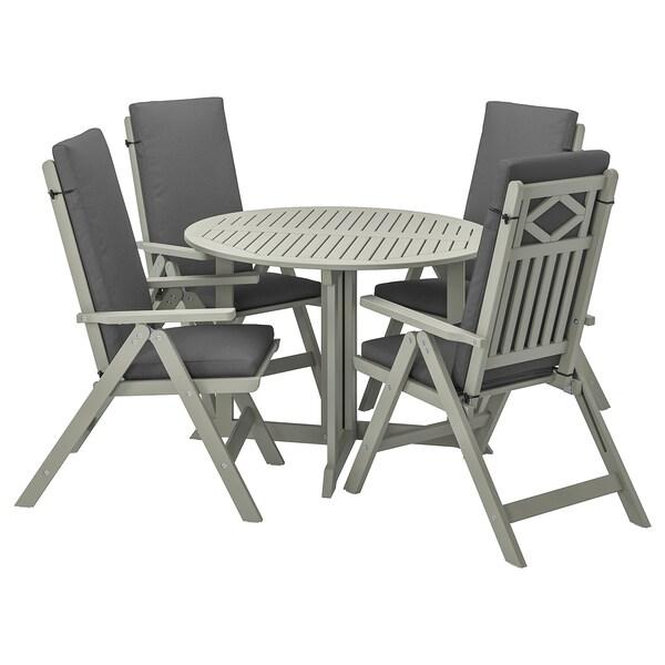 BONDHOLMEN Table + 4 reclining chairs, outdoor, gray stained/Frösön/Duvholmen dark gray