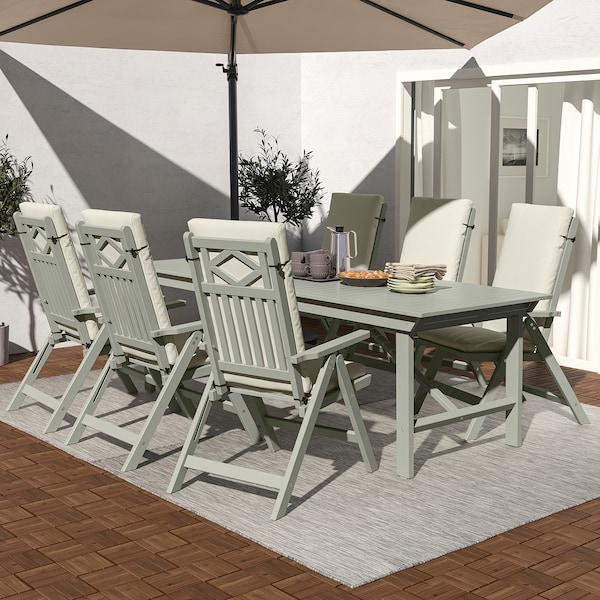 BONDHOLMEN Table + 6 reclining chairs, outdoor, gray stained/Frösön/Duvholmen beige