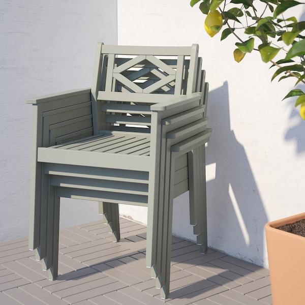 BONDHOLMEN Table and 4 armchairs, outdoor, gray stained/Frösön/Duvholmen blue
