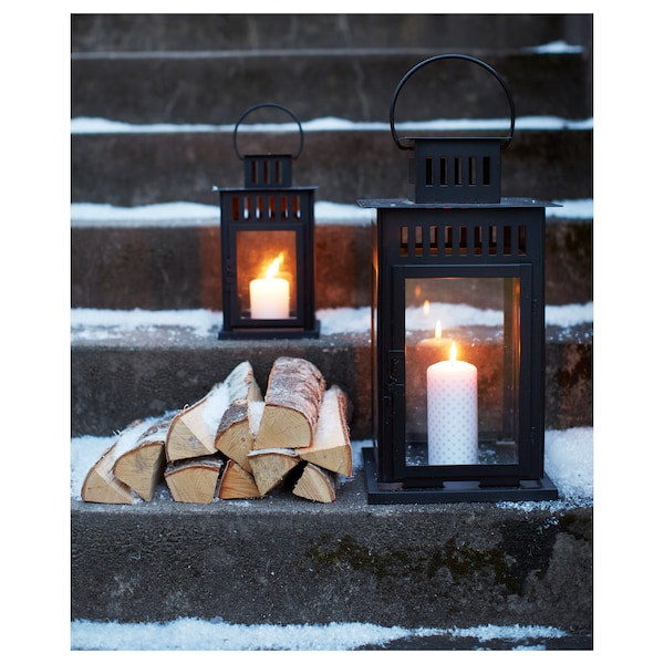 BORRBY Lantern for block candle, indoor/outdoor black, 11 ""