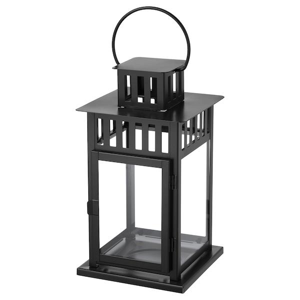 "BORRBY Lantern for block candle, indoor/outdoor black, 11 """