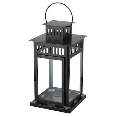 BORRBY Lantern for block candle, indoor/outdoor black, 17 ¼ ""
