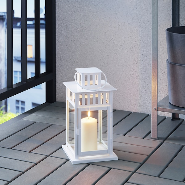 BORRBY Lantern for block candle, indoor/outdoor white, 11 ""