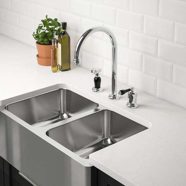 "BREDSJÖN Apron front double bowl sink, under-glued stainless steel, 30x18 """