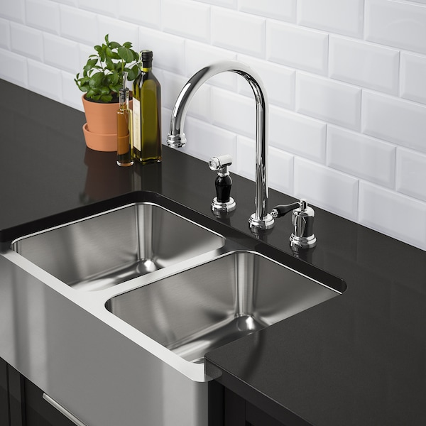 "BREDSJÖN apron front double bowl sink under-glued stainless steel 7 1/8 "" 13 "" 5 gallon 15 3/4 "" 18 "" 30 """