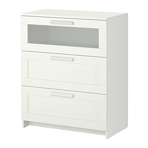 BRIMNES 3 drawer chest   Smooth running drawers with pull-out stop.