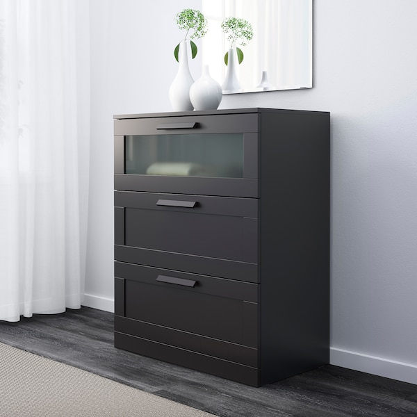 Brimnes 3 Drawer Chest Black Frosted