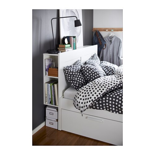 Brimnes Bed Frame With Storage Headboard Queen White Ikea