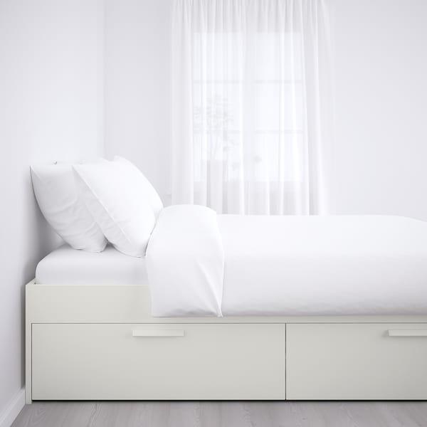BRIMNES Bed frame with storage, white/Luröy, Queen