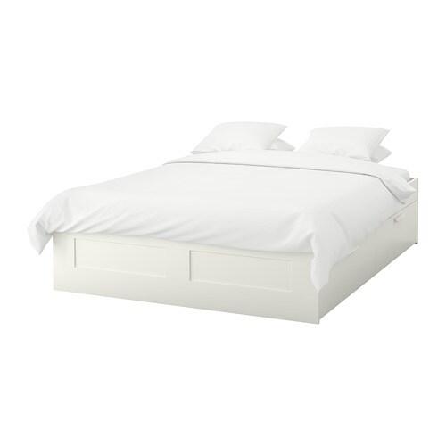 BRIMNES Bed frame with storage - Queen, Luröy, white - IKEA
