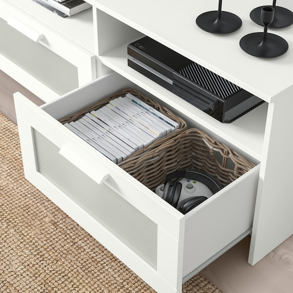BRIMNES / BURHULT TV storage combination, white, 133 1/8x16 1/8x74 3/4 ""