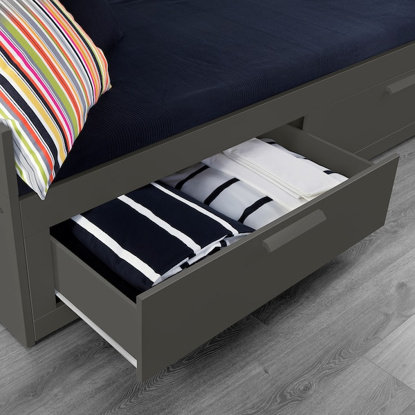 """BRIMNES daybed frame with 2 drawers gray 8 1/4 """" 40 1/2 """" 22 1/2 """" 32 1/4 """" 21 5/8 """" 76 3/8 """" 76 3/4 """" 74 3/8 """" 38 1/4 """" 44 lb"""