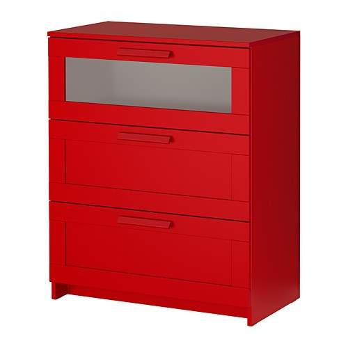 BRIMNES 3-drawer chest   Smooth running drawers with pull-out stop.