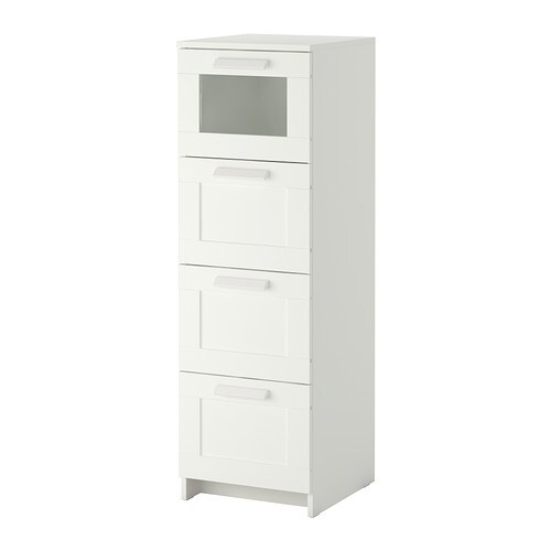 BRIMNES 4-drawer chest   Smooth running drawers with pull-out stop.