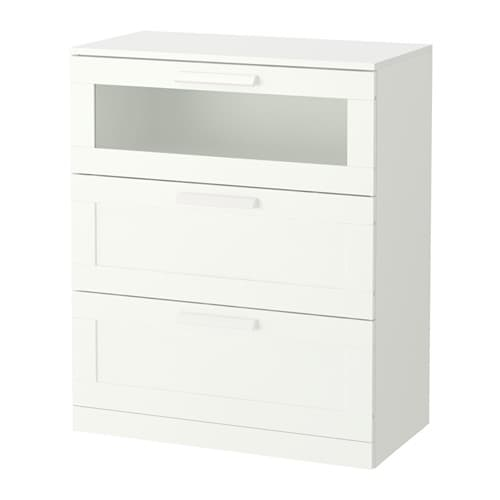 brimnes 3 drawer chest white frosted glass 78x95 cm ikea. Black Bedroom Furniture Sets. Home Design Ideas