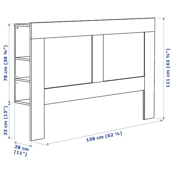 BRIMNES Headboard with storage compartment, black, Queen