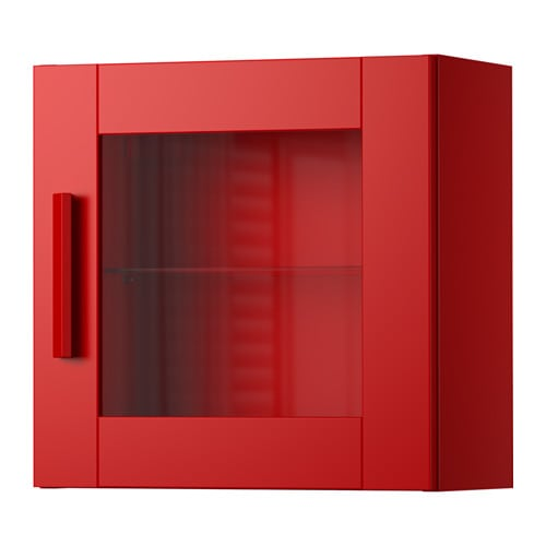 BRIMNES Wall cabinet with glass door red IKEA