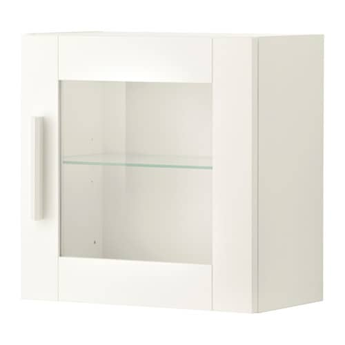 BRIMNES Wall cabinet with glass door IKEA Behind the panel doors you can keep your belongings hidden and free from dust.