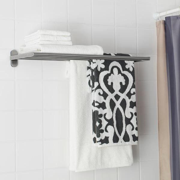"""BROGRUND Wall shelf with towel rail, stainless steel, 26 3/8x10 5/8 """""""