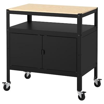 BROR Cart with closed storage, black/wood