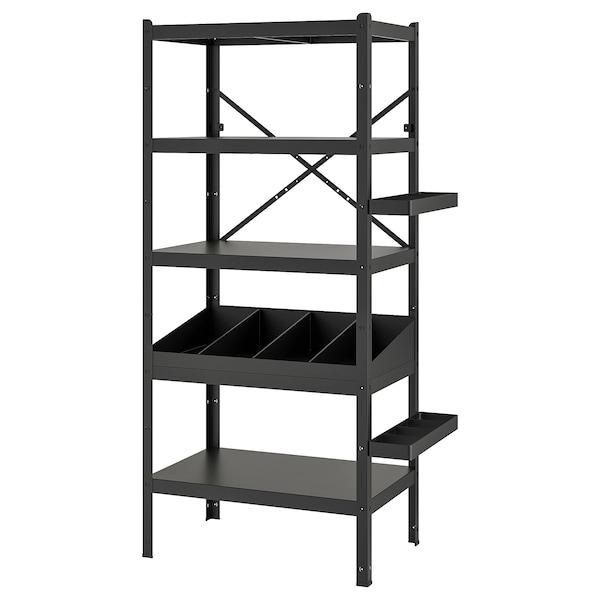 "BROR Shelving unit with clothes rails, black, 33 1/2x21 5/8x74 3/4 """