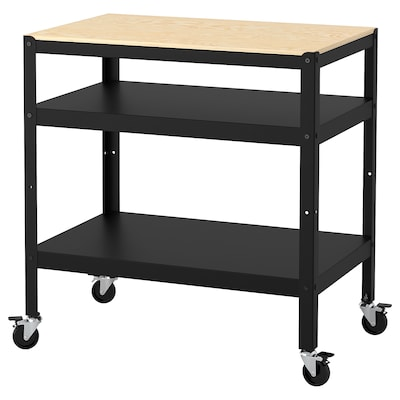 BROR Utility cart, black/pine plywood, 33 1/2x21 5/8 ""