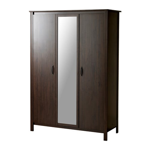 Brusali wardrobe with 3 doors brown ikea - Ikea armoire with mirror ...