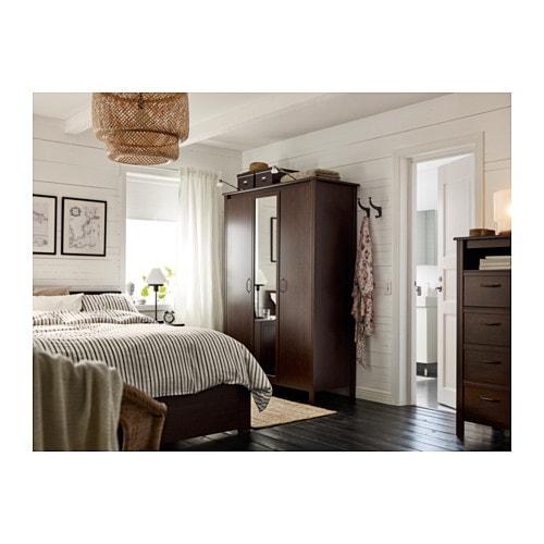 brusali wardrobe with 3 doors brown ikea - Brusali Bed Frame Review