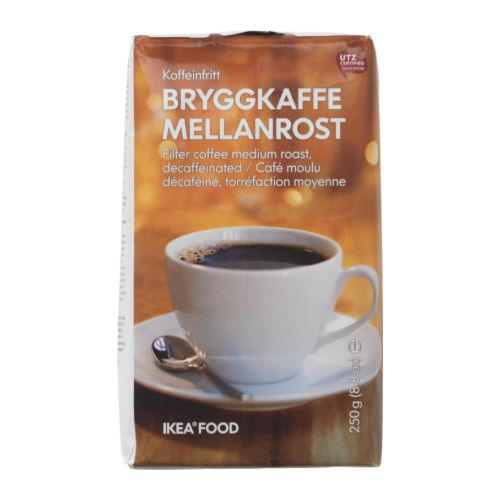 BRYGGKAFFE MELLANROST Decaffeinated coffee   UTZ Certified; ensures sustainable farming standards and fair conditions for workers.