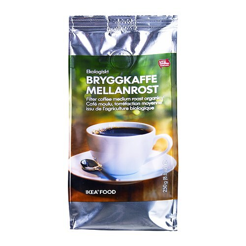 BRYGGKAFFE MELLANROST Ground coffee, medium roast   UTZ Certified; ensures sustainable farming standards and fair conditions for workers.