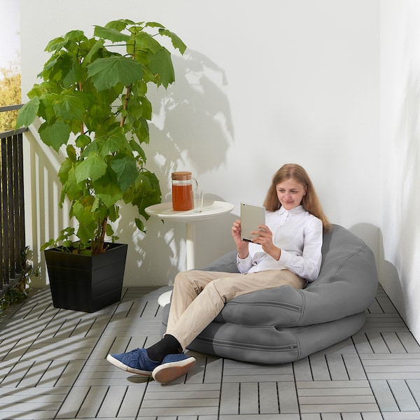 BUSSAN Beanbag, in/outdoor, gray