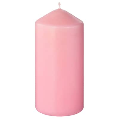 "DAGLIGEN unscented block candle light pink 5 ½ "" 2 ¾ "" 40 hr"