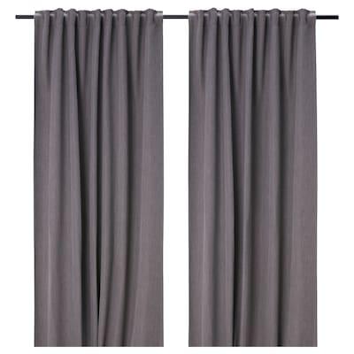 """DAGÖGA Room darkening curtains, 1 pair, light gray, 57x98 """""""
