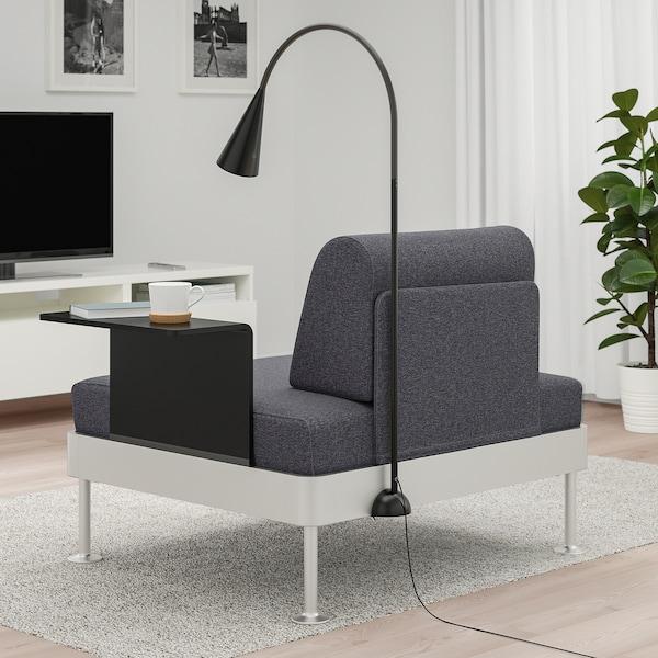 DELAKTIG Armchair with side table and lamp, Gunnared medium gray