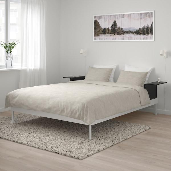 DELAKTIG Bed frame with 2 side tables, aluminum/black, Queen