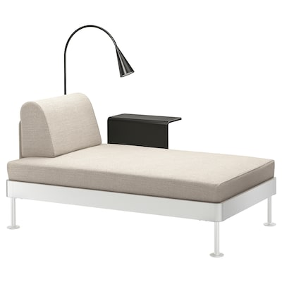 DELAKTIG Chaise with side table and lamp, Gunnared beige