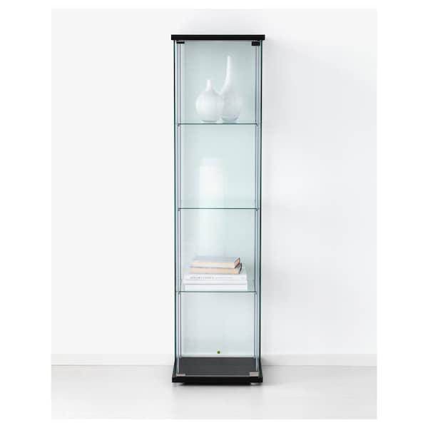 """DETOLF glass-door cabinet black-brown 16 3/4 """" 14 3/8 """" 64 1/8 """" 8 lb"""