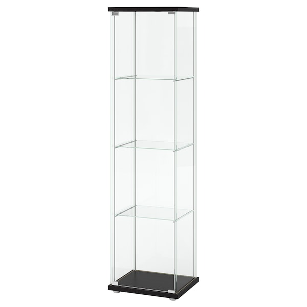"DETOLF glass-door cabinet black-brown 16 3/4 "" 14 3/8 "" 64 1/8 "" 8 lb"