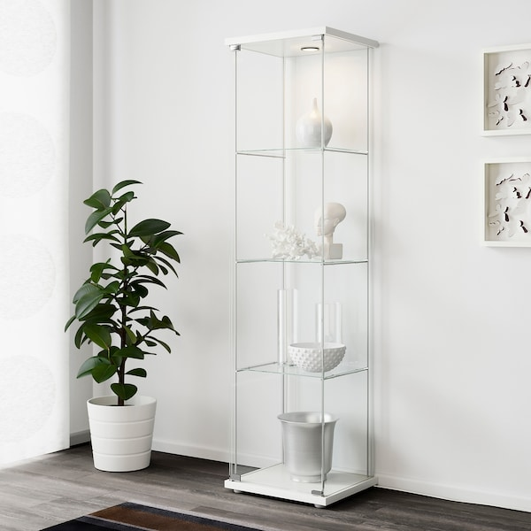 DETOLF Glass-door cabinet, white, 16 3/4x64 1/8 ""