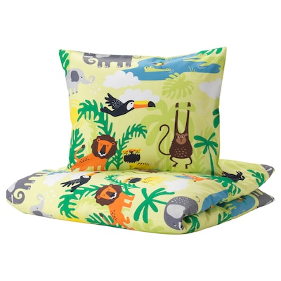 DJUNGELSKOG Duvet cover and pillowcase(s), animal/green, Twin