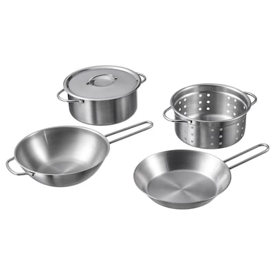 DUKTIG 5-piece toy cookware set stainless steel color