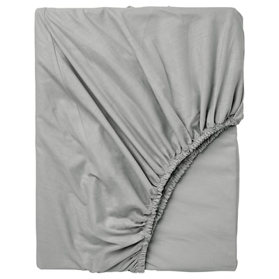 DVALA Fitted sheet, light gray, Twin