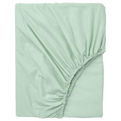 DVALA Fitted sheet, light green, Full/Double