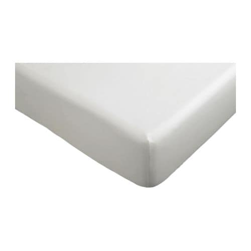 "DVALA Fitted sheet   Fitted sheet with elastic corners.   Fits mattresses up to 10"" thick."